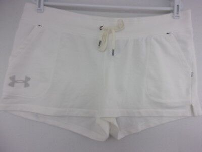 UA Under Armour White Favorite French Terry Shorty Shorts Womens Large