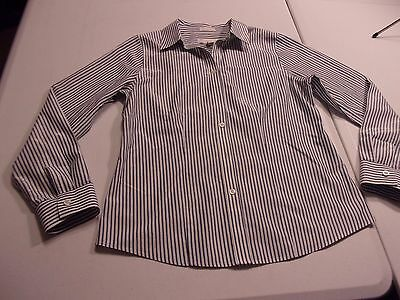 Chico's sz 0 No-Iron White/Blue/Black/Silver Striped Long Sleeve Blouse Shirt