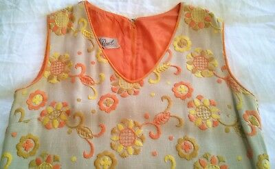 Vintage 60s/70s Embroidered Floral Yellow Orange Tan Shift Dress sz 10? AWESOME