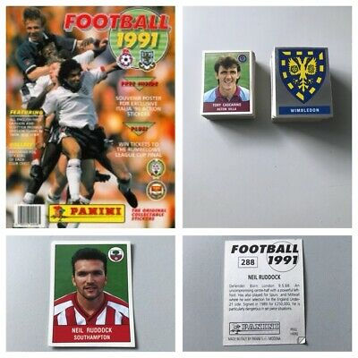 PANINI FOOTBALL 91 Stickers. Complete your set, 1, 2, 3, 4, 5,10,15,25 available