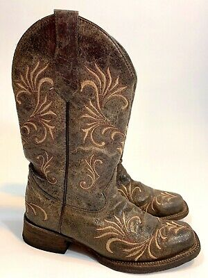 bcdc9524f Circle G Corral Boots Women's Size 7.5 Brown Distressed Square Toe Cowgirl  L5194