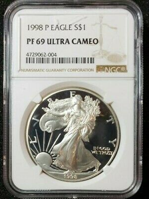 1998-P Silver $1 ASE American Eagle NGC PF69UCAM $68 (73)