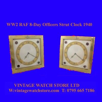 WW2 Mint Gilt RAF Officers Mantle Military 8-Day Brass Strut Clock 1940