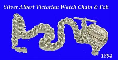 Silver Double Victorian Albert Fusee Pocket Watch Chain & Fob 1894
