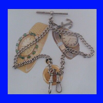 Silver Double Edwardian Albert Fusee Watch Chain & Anchor 1909