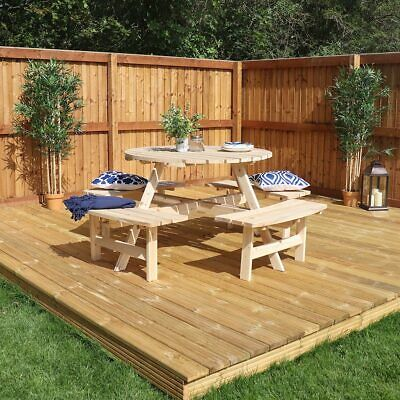 Round Picnic Bench Table Large Wooden Outdoor Garden Furniture Beer Garden  Wido