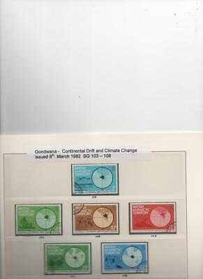 British Antarctic Territory 1982 Godwanda Climate Change set of 6 CTO stamps