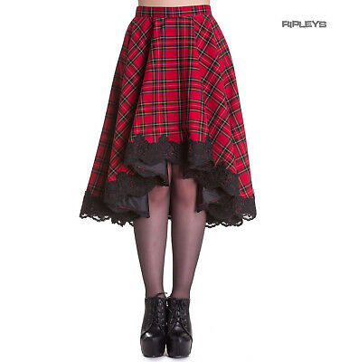 b7fa97955 Hell Bunny Spin Dr 50s Lace Gothic Punk LUCINE Red Tartan Midi Skirt All  Sizes