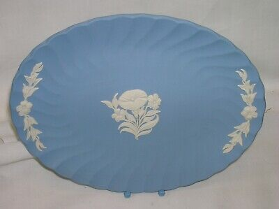 Lovely Wedgwood blue jasper ware oval fluted tray - 7 inches x 5.5 inches