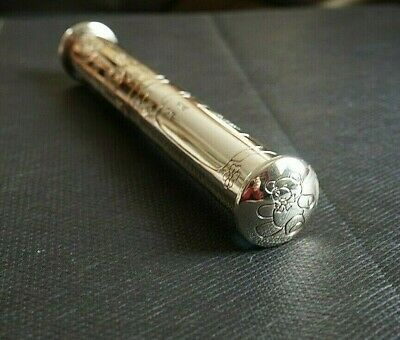 Electro-Plated Silver,  Holder Tube For Birth/christening Certificate