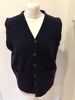 Men's Barbour Knitted Navy Blue Merino Wool Waistcoat Size M Good Condition