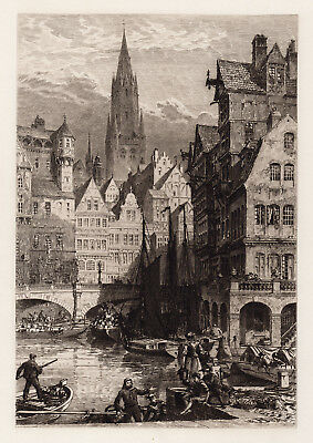 """AXEL HAIG Original 1800s Etching """"Old Hanse Town Church Tower"""" Framed SIGNED COA"""