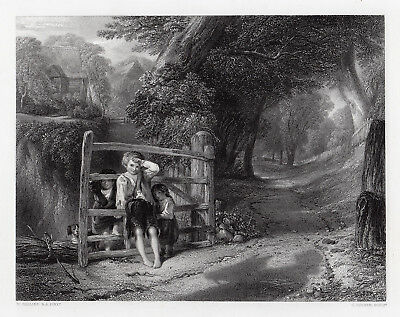 """WILLIAM COLLINS 1800s Engraving """"Rustic Children at the Gate"""" SIGNED Framed COA"""