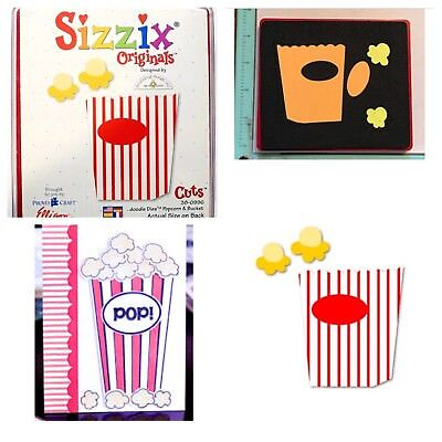 Sizzix Die Popcorn & Bucket Scrapbook RARE Diecut Movie Party Card-making NEW