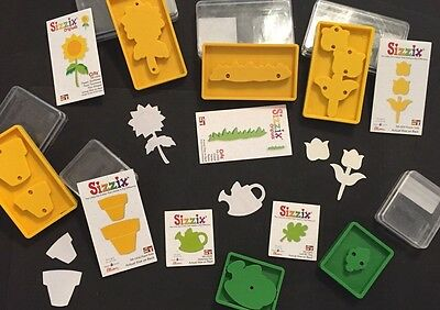 Sizzix Die NEW Lot Sunflower Gardening Pot Leaf Grass Originals Scrapbook DieCut