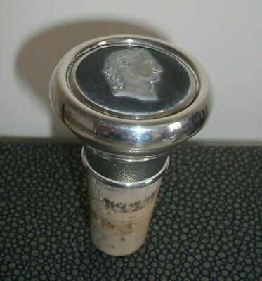 A Birmingham hallmarked silver bottle stopper inset with cameo bust of Napoleon