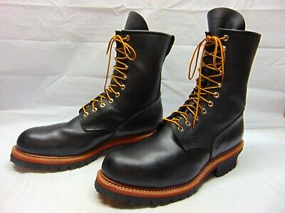 fe3a7fa9ff5 RED WING BOOTS Size 10 Steel Toe Logger Black Leather Work 2218 MADE ...