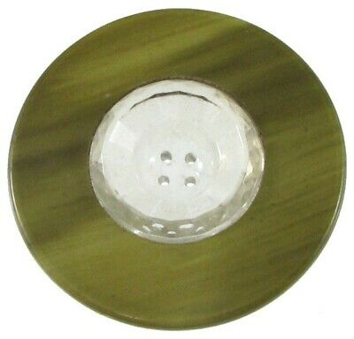 Large & Unusual Clear Glass Button w/ Celluloid & Metal Tight Top Rim, Vintage