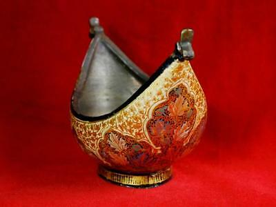RARE-Fine Antique-DERVISH -Islamic Handmade Brass Keshkul Begging Bowl