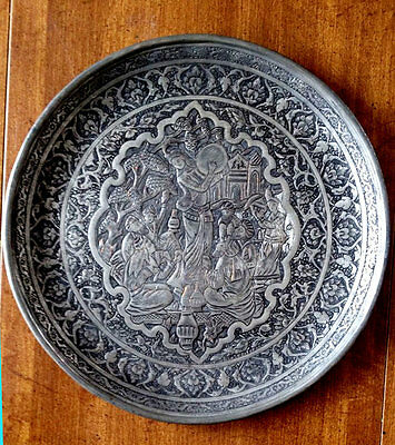 Very Fine Antique Islamic - Persian Middle Eastern Ornate Engraved Copper Tray