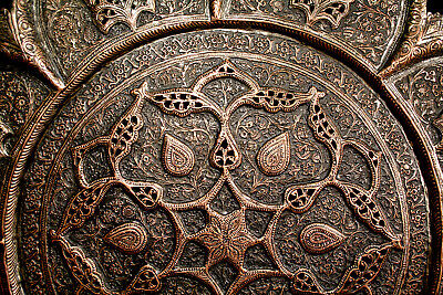 Spectacular Antique-Islamic~Ornate Kashmiri-Persian Engraved Copper Tray