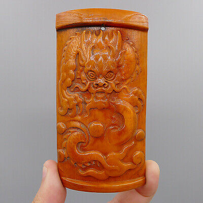Natural Old bone Collection Hand Relief Dragon Loong Pendants Statue Sculpture