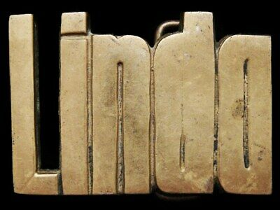II13166 VINTAGE 1970s CUT-OUT NAME ***LINDA*** SOLID BRASS BELT BUCKLE