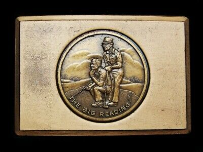 MJ27116 VINTAGE 1970s **THE BIG READING** SOLID BRASS GOLF SPORTS BELT BUCKLE