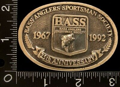 MJ28176 VINTAGE *BASS ANGLERS SOCIETY** 25th ANNIVERSARY BELT BUCKLE