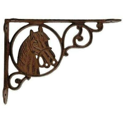 BROWN Horse Shelf Brace  Antique Style Wall Bracket Cast Iron Metal SET OF TWO