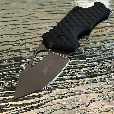 MTech Small Black Silver Spring Assisted Tactical Hunting Rescue Pocket Knife