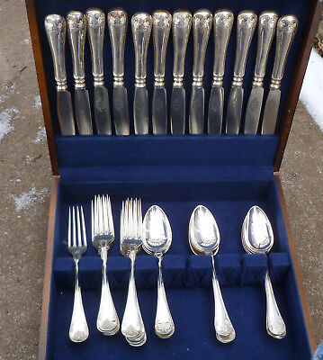 Swedish Gammel Fransk Flatware Set for 12 Antique Sweden Silver