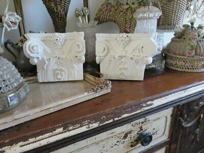 2 FABULOUS Old Architectural Wood Hanging HALF CAPITALS Ornate WHITE