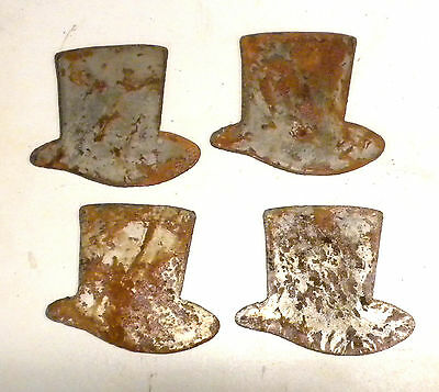 """Lot of 4 Top Hat Shapes 3"""" Steampunk Victorian Rusty Metal Vintage Stencil Craft"""