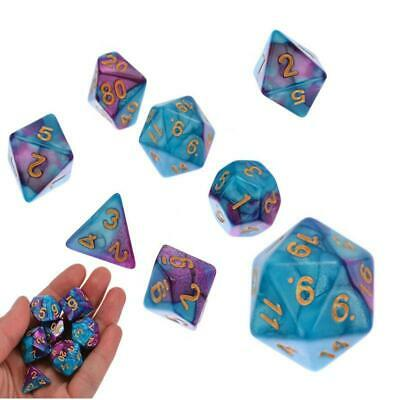 7pcs/Set Polyhedral DND RPG MTG Game Dungeons & Dragons Dice D4-D20 Purple Blue