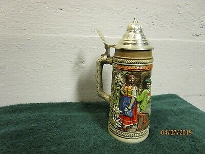 West German GERZ Lidded Beer Stein with Raised Relief Three Men and Lady