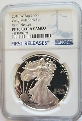 2018 W NGC Proof 70 UC $1 Silver Eagle Congratulations Set First Releases + OMP