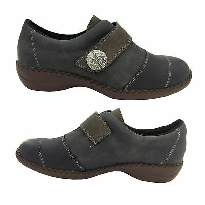 Ladies Shoes Lorella Bree Full Cover Adhesive Tab Work Shoes Navy Size 5-10 NEW