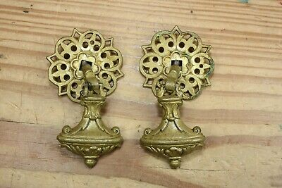 Pair Vintage Tear Drop Drawer Pulls Dangle Single Post Ornate with Backplates
