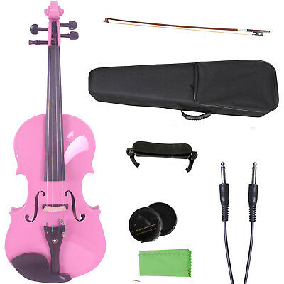 4/4 Electric Acoustic Violin Solid Maple Spruce Wood Pink Violin For Girl Gift