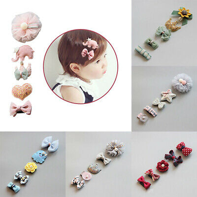 5pcs Baby Hair Clips Girls Kids Flowers Hair Clip Bow Hairpin Alligator Clips