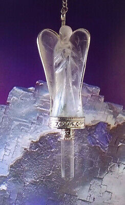 Stunning Large Hand Carved Crystal Quartz Angel Pendant With Point, Silver Chain