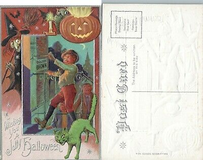 ANTIQUE HALLOWEEN POSTCARD - WITCH w/ BROOM GREEN CAT JACK-O-LANTERN