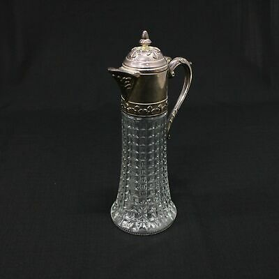 Vintage 31cm Notched Prism Glass Claret Jug with Decorative Metal Lid #452