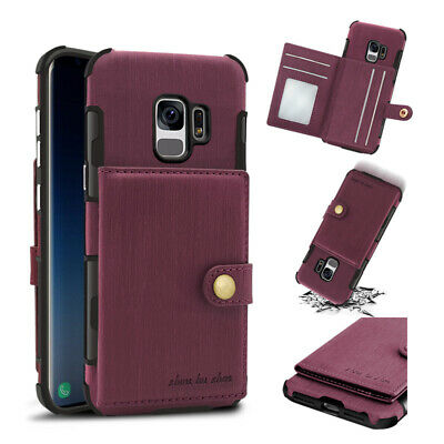 For Samsung Galaxy S10 Plus S10e Leather Pouch Card Stand Wallet Back Case Cover
