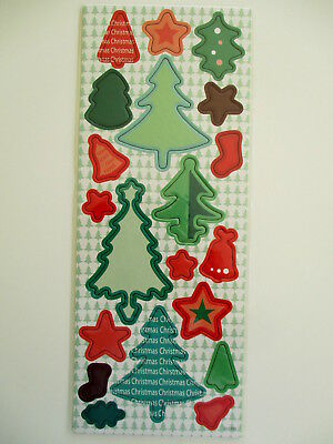 Christmas Chipboard Shapes - red & green - trees & decorations