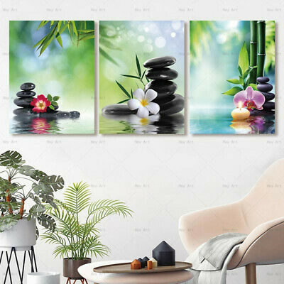 Zen Stone Bamboo Flower Canvas Painting Wall Art Picture HD Print Home Decor
