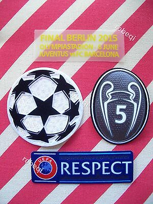 Parches Champions + 5 copas + Respect + detalles Final Berlin 2015 FC Barcelona