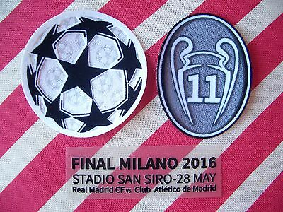 Parches Champions + 11 copas + Detalles final Champions Milan 2016 Real Madrid