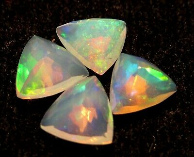 6.55 Cts 100%natural Ethiopian Welo Opal Trillion Faceted Top Awesome Fire Lot